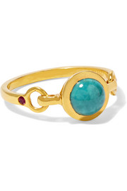 SCOSHA Rio gold-plated, turquoise and ruby ring
