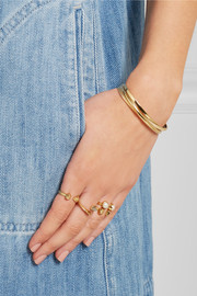 Set of four gold-plated, labradorite and pearl rings