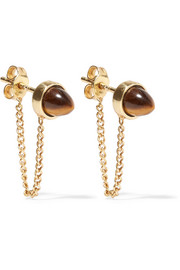 Gold-plated Tiger's Eye earrings
