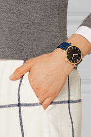 Larsson & Jennings Croc-effect leather and gold-plated watch