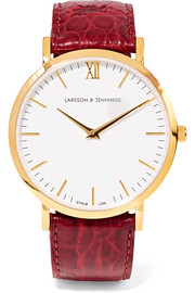 Croc-effect leather and gold-plated watch