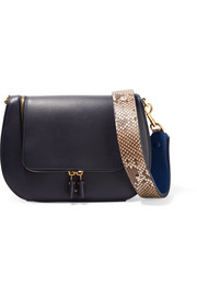 Vere python and leather shoulder bag