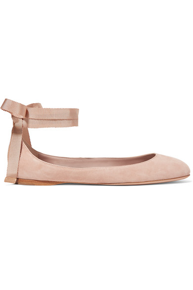 AERIN - Suede Ballet Flats - Taupe