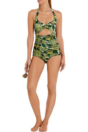 Anna Sui Rosa Mexicana cutout printed halterneck swimsuit