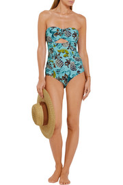 Anna Sui Cutout printed bandeau swimsuit