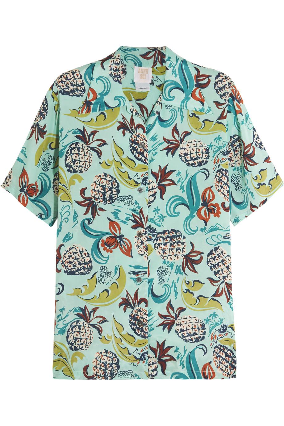 Anna Sui Printed Crepe De Chine Shirt, Sky Blue, Women's