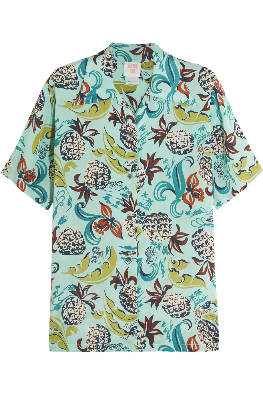 Anna Sui Printed Crepe De Chine Shirt, Sky Blue, Women's, Size: M