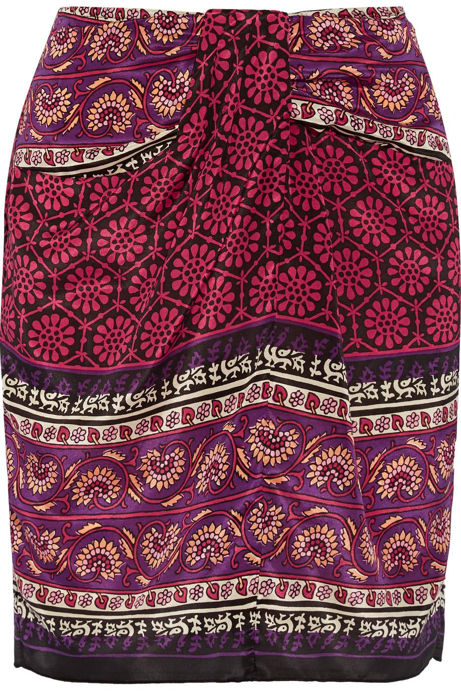 Anna Sui Printed Silk and Cotton-Blend Mini Skirt, Claret/Purple, Women's, Size: 0