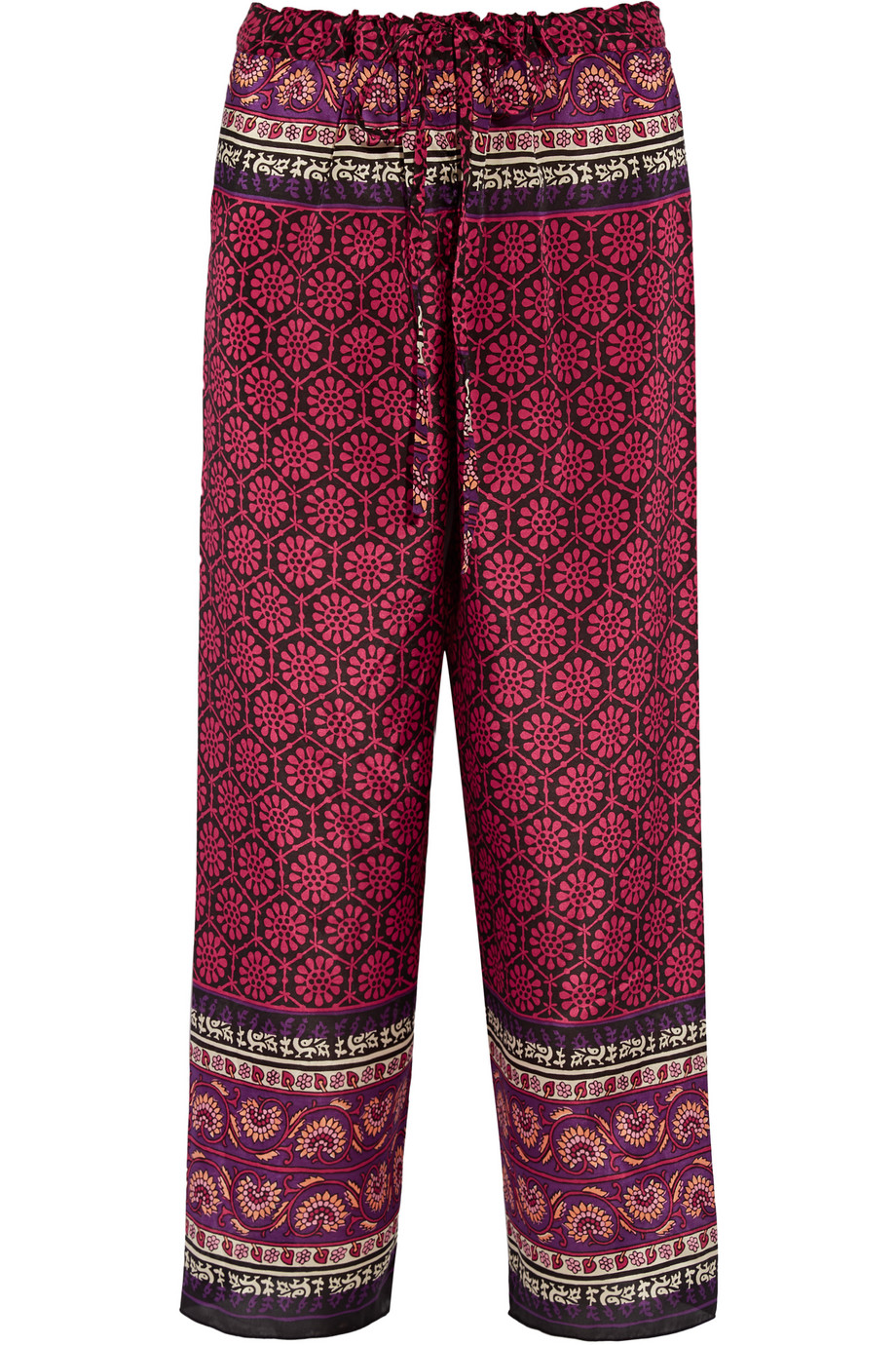 Anna Sui Printed Silk and Cotton-Blend Pants, Magenta/Claret, Women's