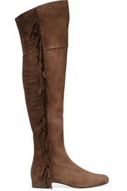 Saint Laurent Fringed suede over-the-knee boots