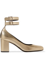 Saint Laurent Babies metallic textured-leather pumps
