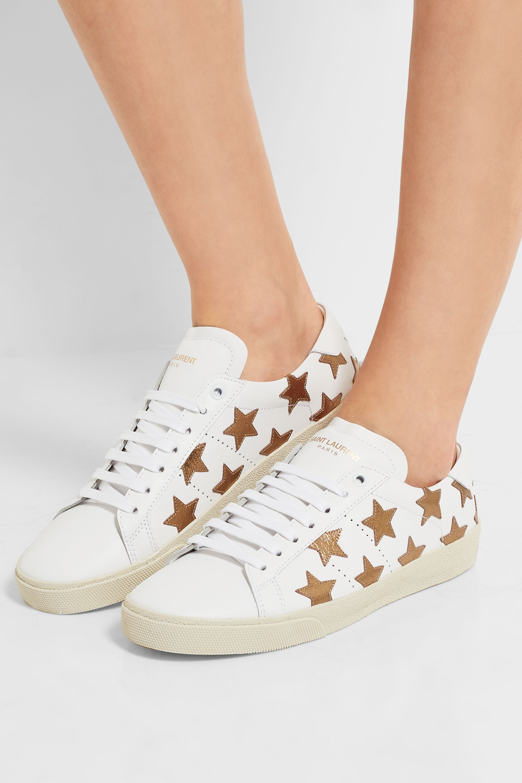 SAINT LAURENT Court Classic appliquéd leather sneakers