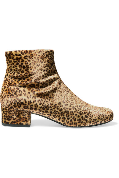 Saint Laurent - Babies Leopard-print Velvet Ankle Boots - Leopard print