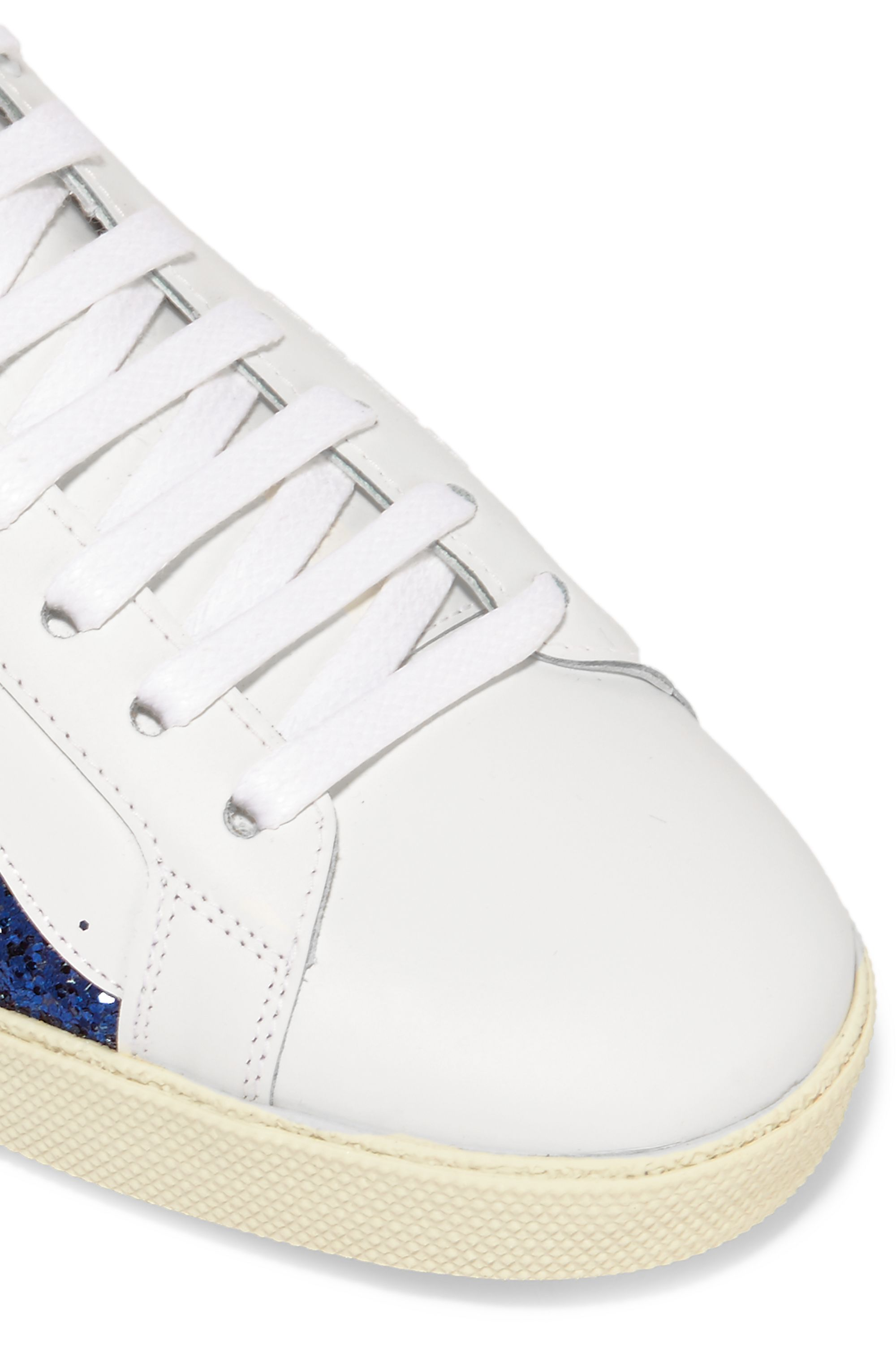 SAINT LAURENT Court Classic glittered leather sneakers