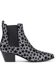 Saint Laurent Rock flocked glittered leather ankle boots