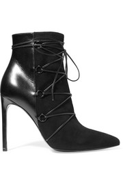 Saint Laurent Jane suede and leather ankle boots