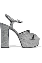 Saint Laurent Candy glittered mesh platform sandals