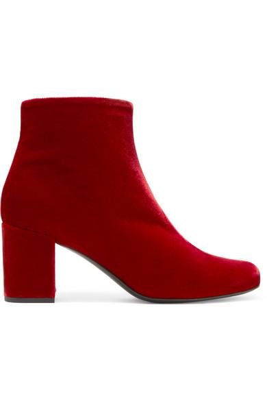 Saint Laurent - Babies Velvet Ankle Boots - Red