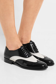 Saint Laurent Dylan two-tone glossed-leather brogues