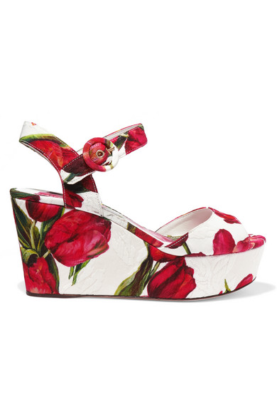 dolce and gabbana female 250960 dolce gabbana floralprint brocade wedge sandals red