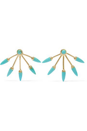 Pamela Love 5 Spike gold-plated turquoise earrings