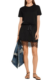 CLU Lace-trimmed cotton-jersey mini dress