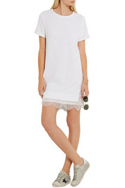 CLU Lace-paneled cotton-blend mini dress
