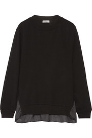CLU Satin-paneled cotton-jersey sweatshirt