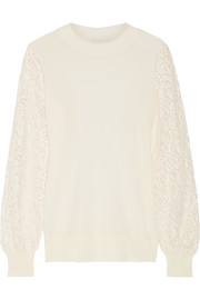 CLU Lace-paneled knitted sweater