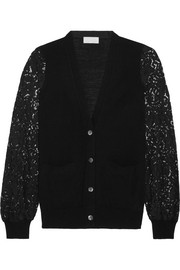 Guipure lace-paneled knitted cardigan