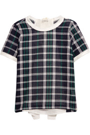 Silk-paneled checked cotton top