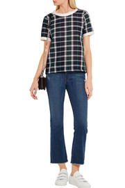 CLU Silk-paneled checked cotton top