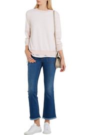CLU Bow-embellished slub-jersey and crepe sweatshirt
