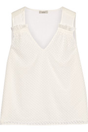CLU Embroidered crinkled-silk and silk-voile top