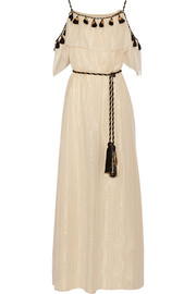 Off-the-shoulder tasseled cotton and silk-blend maxi dress