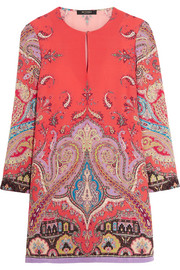 Etro Printed silk crepe de chine mini dress
