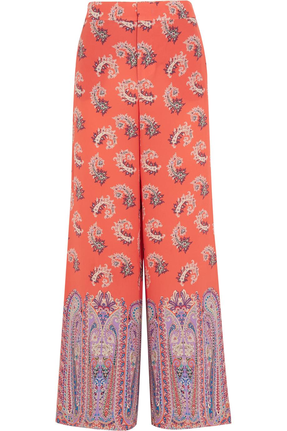 Etro Printed Silk Crepe De Chine Wide-Leg Pants, Size: 48