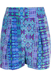 Printed silk crepe de chine shorts