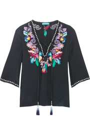 Matthew Williamson Embellished embroidered silk crepe de chine top