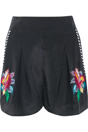 Embellished embroidered silk crepe de chine shorts