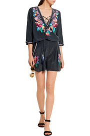 Matthew Williamson Embellished embroidered silk crepe de chine shorts