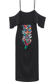 Matthew Williamson Off-the-shoulder embellished embroidered silk crepe de chine dress