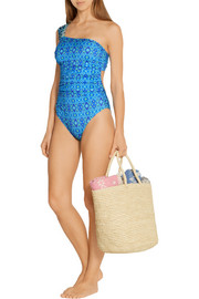 One-shoulder printed swimsuit