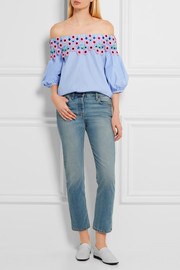 Peter Pilotto Pallas off-the-shoulder guipure lace-trimmed cotton-poplin top