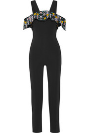 Peter Pilotto Off-the-shoulder embroidered stretch-cady jumpsuit