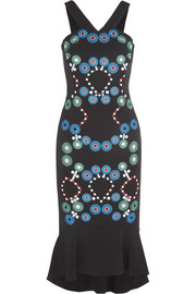 Peter Pilotto Embroidered stretch-cady midi dress
