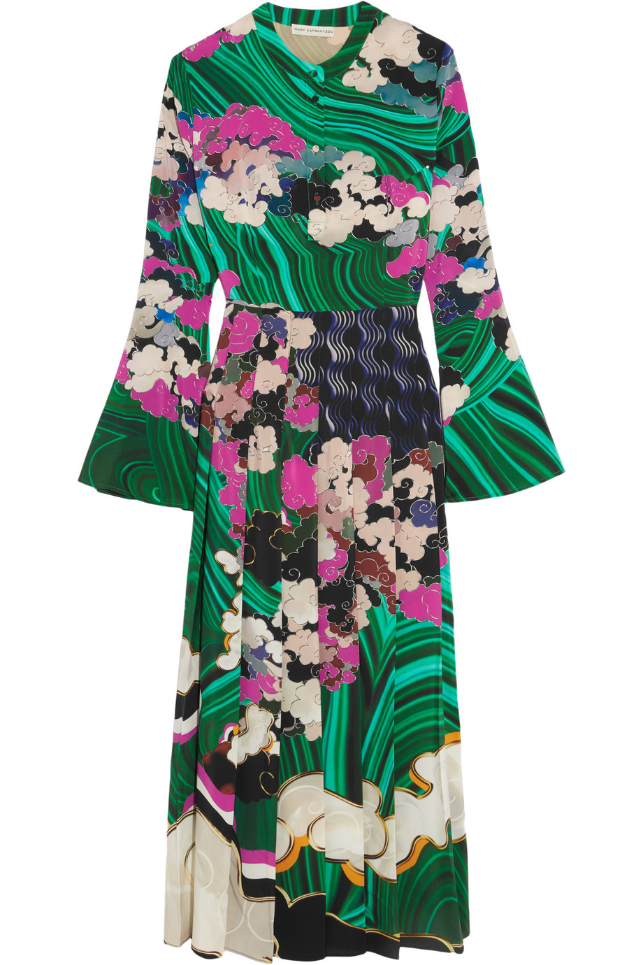Mary Katrantzou Desmine Printed Silk Dress, Green, Women's - Printed, Size: 12