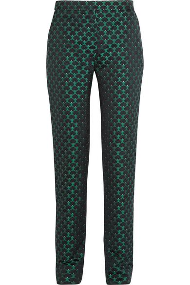 Mary Katrantzou - Agate Satin-jacquard Straight-leg Pants - Emerald