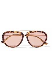 Stacy aviator-style acetate and gold-tone sunglasses