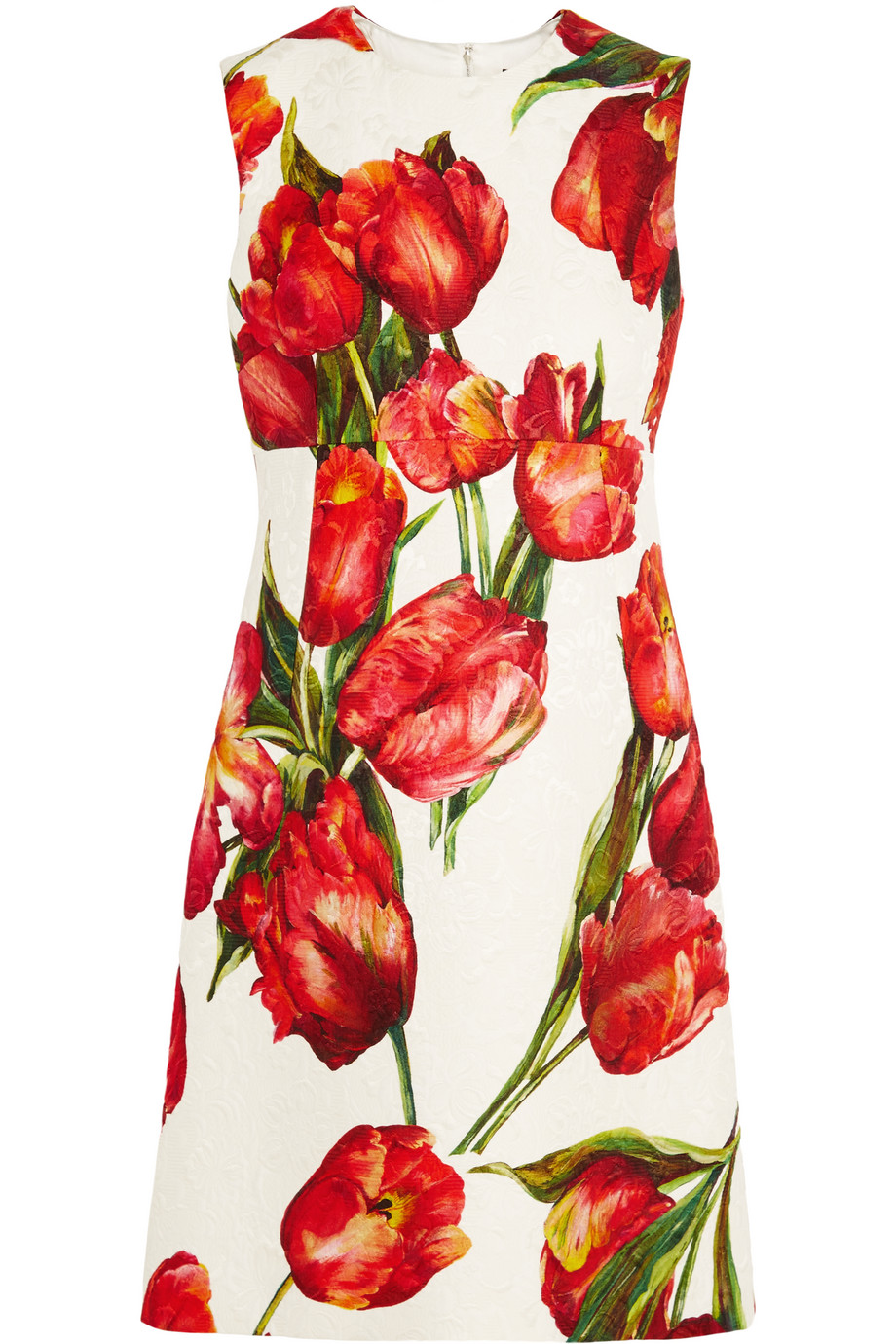 Dolce & Gabbana Floral-Print Cotton-Blend Matelassé Mini Dress, Red, Women's - Floral, Size: 40